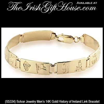 Gold History of Ireland Bracelet: Men's