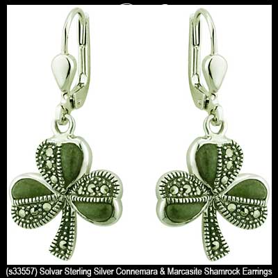 Connemara Marble Shamrock Earrings Silver Marcasite