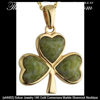 Connemara Marble Shamrock Necklace Gold Solvar