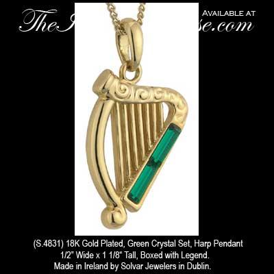Irish harp necklace gold plated solvar aloadofball Gallery