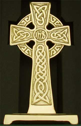Solid Brass Standing Celtic Cross With Trinity Knots