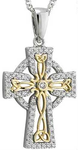 201f11e0098ad7 Celtic Cross Necklace - Sterling Silver - Gold Plated Knots