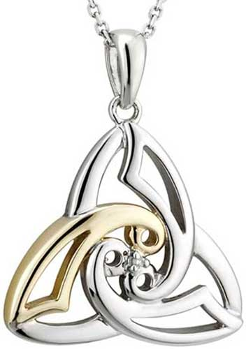 Sterling silver celtic necklace trinity with spiral and diamond aloadofball Images