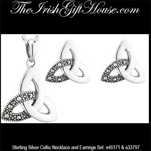 e82804986 Sterling Silver Celtic Necklace & Earrings, Trinity with Marcasite Stone ...