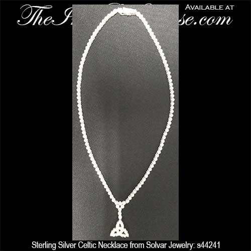 Sterling silver celtic necklace necklet style with cz stones sterling silver celtic necklaces 44241a mozeypictures Choice Image