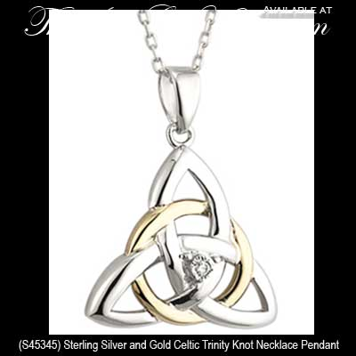 Sterling silver celtic necklace with diamond trinity and gold accenting sterling silver celtic necklaces 45345 aloadofball Choice Image
