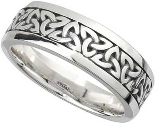 Sterling Silver Celtic Wedding Band for Men Trinity