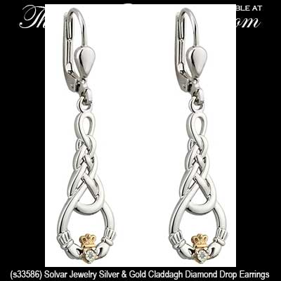 Claddagh Earrings: Sterling Silver with Diamonds and Celtic Knot-Work
