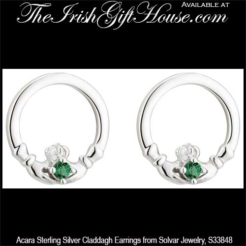 gold yellow stud stone emerald jewellers kt earrings with claddagh
