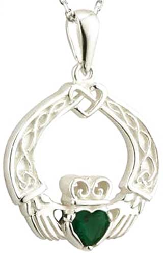 Claddagh Sterling Silver Pendant with Green Crystal with 18 Silver Chain S45447