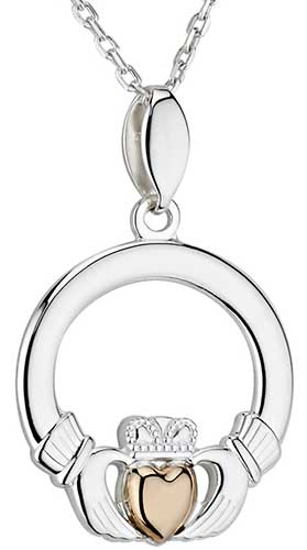 Claddagh Necklace Sterling Silver Gold Heart 46476