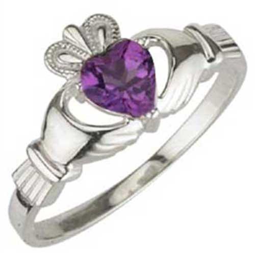 Amethyst Claddagh Ring - February Birthstone - Silver
