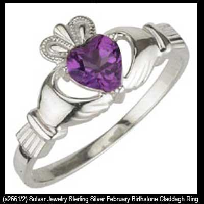 894680ae4e952 Amethyst Claddagh Ring - February Birthstone - Sterling Silver
