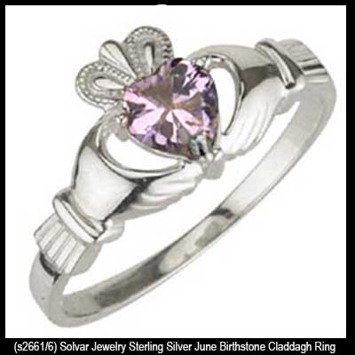 Rose Pink Claddagh Ring June Birthstone In Silver Silver