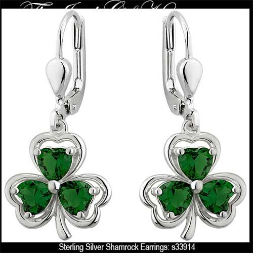 9902a0822 Sterling Silver Shamrock Earrings with Green Crystals
