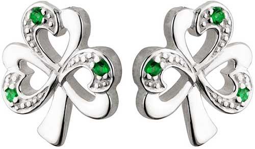adbc02753 Sterling Silver Shamrock Stud Earrings - Emeralds