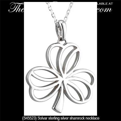 Sterling silver shamrock necklace open design aloadofball Images