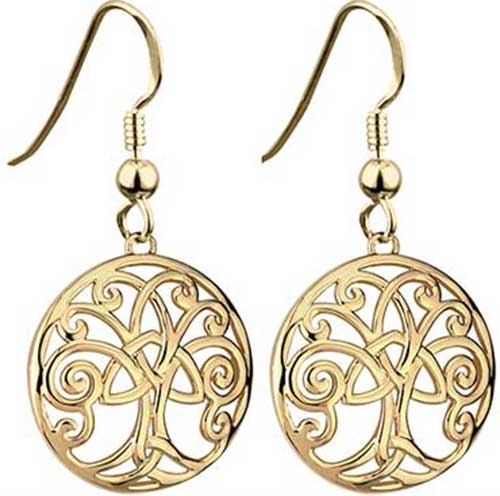 Gold Plated Tree Of Life Earrings