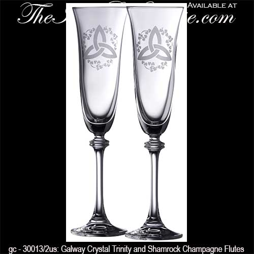 Trinity and Shamrock Champagne Flutes from Galway Crystal - The ...
