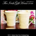 Irish Belleek China Claddagh Mugs, Pair