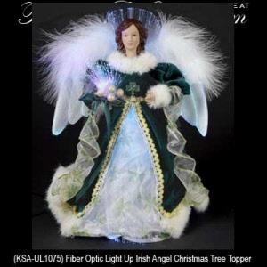 irish angel tree topper with a shamrock dress fiber optic - Christmas Angel Tree Topper