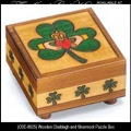 Irish Gifts - Wooden Claddagh and Shamrock Puzzle Box