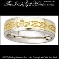 Solvar Ladies Sterling Silver and Gold Claddagh Band