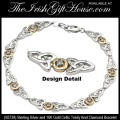 Solvar Irish Jewelry Sterling Silver and Gold Celtic Trinity Knot Bracelet